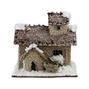 """Northlight 9.25"""" Two Story Snowy Cabin Christmas Tabletop Decor - Brown and Beige"""