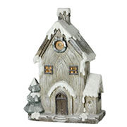 """Northlight 19"""" LED Lighted Rustic House Christmas Decoration - Gray and Brown"""