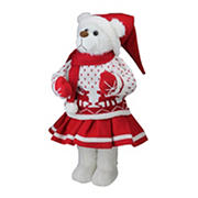 """Northlight 20"""" Winter Girl Santa Bear in Deer Sweater Christmas Figure Decoration - White and Red"""