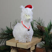 """Northlight 13"""" Plush Standing Llama with Jingle Bell Necklace Christmas Tabletop Figure"""