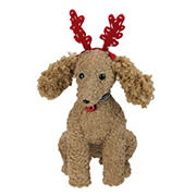 """Northlight 14.5"""" Plush Tan Bichon Frise Puppy Dog with Red Antlers Christmas Decoration"""