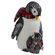 """Northlight 12"""" Plush Mother Penguin and Chick Christmas Figure"""