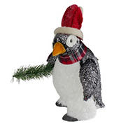 """Northlight 13"""" Plush Penguin with Pine Branch Christmas Figure"""