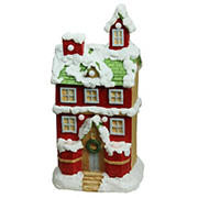 """Northlight 21.25"""" Pre-Lit LED Snow Covered 2 Storey House Musical Christmas Tabletop Decor - Red and White"""