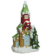 """Northlight 21.25"""" Pre-Lit LED Snow Covered Church Christmas Tabletop Figurine - Green and White"""