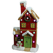 """Northlight 21"""" Pre-Lit Led Snow Covered House Tabletop Decor - Red and White"""