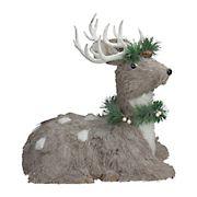 "Northlight 14"" Sitting Sisal Reindeer with Wreath Christmas Figure - Gray"