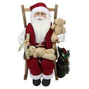 """Northlight 14.75"""" Santa Claus in a Rocking Chair with Teddy Bears Figurine"""