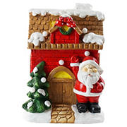 """Northlight 16"""" LED Lighted House with Santa Musical Christmas Tabletop Figurine - Red"""