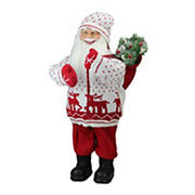 """Northlight 25"""" Santa in Knit Deer Sweater with Sack of Pine Figure Decoration - White and Red"""