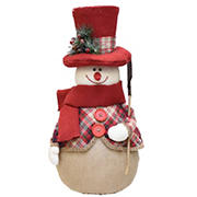 """Northlight 22.75"""" Plaid Snowman with Shovel Tabletop Christmas Figure -  Red and Brown"""