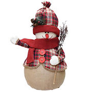"""Northlight 22"""" Snowman with Broom Christmas Tabletop Figurine - Red and Brown"""