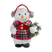 "Northlight 12"" Plush Girl Snowman with Ear Muffs Christmas Figure"