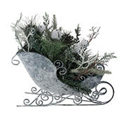"""Northlight 9.5"""" Frosted Christmas Pinecone  Bell and Foliage Filled Tabletop Sleigh - Gray and Green"""