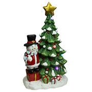 """Northlight 23"""" Pre-Lit LED Tree with Santa Snowman Musical Christmas Tabletop Decor - Red and Green"""