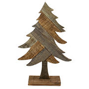 "Northlight 23.5"" Textured Wood Tabletop Christmas Tree - Brown"