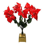 """Northlight 20"""" Pre-Lit Fiber Optic Poinsettia Artificial Christmas Plant - Red and Green"""