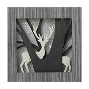 """Northlight 12"""" Glittered Woodland Deer Silhouette Box Framed Christmas Table Decoration"""