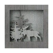 """Northlight 10"""" Glittered Moose Silhouette Box Framed Christmas Table Decoration"""