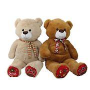 "Northlight 40"" Plush Christmas Stuffed Bear Figures, 2 pk. - Brown and Beige"