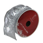 """Northlight 2.5"""" x 120 Yards Wired Christmas Words Craft Ribbon Spools, 12 pk.  - Silver"""