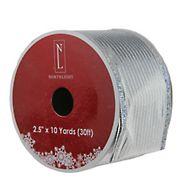 "Northlight 2.5"" x 12 Yards  Horizontal Wired Christmas Craft Ribbon Spools, 12 pk.  - Shimmery Silver"