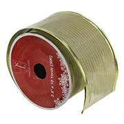 """Northlight 2.5"""" x 120 Yards Wired Christmas Craft Ribbon Spools, 12 pk. - Shimmery Gold"""