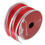 """Northlight 2.5"""" x 120 Yards Dazzling Metallic Striped Wired Christmas Craft Ribbon Spools, 12 pk.  - Red and Silver"""