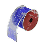"""Northlight 2.5"""" x 120 Yards Glitter Snowflakes Wired Craft Ribbons, 12 pk.   - Blue and Silver"""