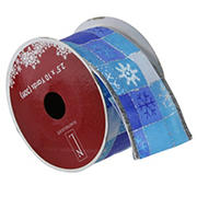 """Northlight 2.5"""" x 120 YardsSnowflake Wired Christmas Craft Ribbons - Blue and Silver"""