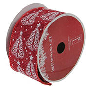 """Northlight 2.5"""" x 120 Yards Cranberry Trees Wired Christmas Craft Ribbon - Red and White"""