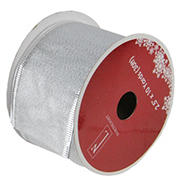 """Northlight 2.5"""" x 120 Yards Shimmering  Wired Christmas Craft Ribbon Spools, 12 pk. - Silver"""