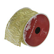 """Northlight 2.5"""" x 120 Yards Sparkling Lines Wired Christmas Craft Ribbons - Gold"""