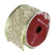 "Northlight 2.5"" x 120 Yards Sparkling  Chevron Print Wired Christmas Craft Ribbon  - Green"