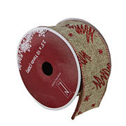 """Northlight 2.5"""" x 120 Yards Christmas Tree Wired Craft Ribbons, 12 pk. - Red and Beige"""