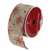 """Northlight 2.5"""" x 120 Yards  Star Christmas Wired Craft Ribbons, 12 pk. - Red and Beige"""
