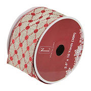 """Northlight 2.5"""" x 120 Yards Diamond Wired Christmas Craft Ribbon - Red and Beige"""