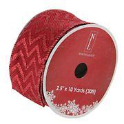 "Northlight 2.5"" x 120 Yards Glitter Chevron Wired Christmas Craft Ribbon - Wine Red"