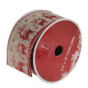 """Northlight 2.5"""" x 12 Yards Burlap Reindeer Wired Christmas Craft Ribbon Spools - Red and Brown"""