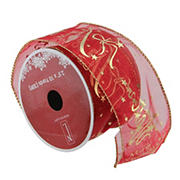 """Northlight 2.5"""" x 120 Yards Merry Christmas Wired Craft Ribbon Spools, 12 pk. - Cranberry Red and Gold"""