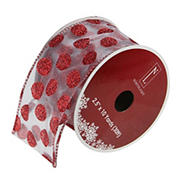 """Northlight 2.5"""" x 120 Yards Glittering Polka Dots Christmas Wired Craft Ribbons, 12 pk. - Silver and Red"""
