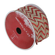 """Northlight 2.5"""" x 120 Yards Chevron Wired Christmas Craft Ribbon, 12 pk. - Red and Brown"""