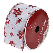 """Northlight 2.5"""" x 12 Yards  Snowflakes Burlap Wired Christmas Craft Ribbon Spools , 12 pk. - White and Red"""
