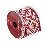 """Northlight 2.5"""" x 120 Yards Snowflake Wired Christmas Craft Ribbon Spool, 12 pk. - White and Red"""