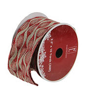 """Northlight 2.5"""" x 120 Yards Christmas Wired Craft Ribbons, 12 pk. - Red and Beige"""