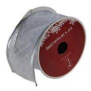 "Northlight 2.5"" x 120 Yards Shimmering Diamond Wired Christmas Craft Ribbon Spools 12pk. - Silver"