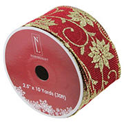 """Northlight 2.5"""" x 120 Yards Cranberry Poinsettia Wired Craft Ribbons 12 pk. - Red and Gold"""