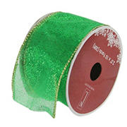 """Northlight 2.5"""" x 120 Yards Shimmering Wired Christmas Craft Ribbon, 12pk. - Green and Gold"""