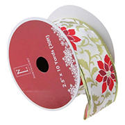 Northlight 2.5 x 120 Yards Total Poinsettia Print  Wired Christmas Craft Ribbon Spools, 12 pk. - Red and Gold