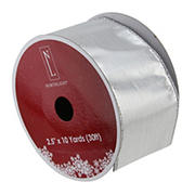 """Northlight 2.5"""" x 120 Yards Solid Christmas Wired Craft Ribbon - Silver"""
